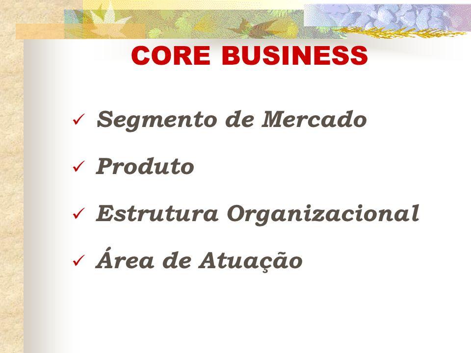 CORE BUSINESS Segmento de Mercado Produto Estrutura Organizacional
