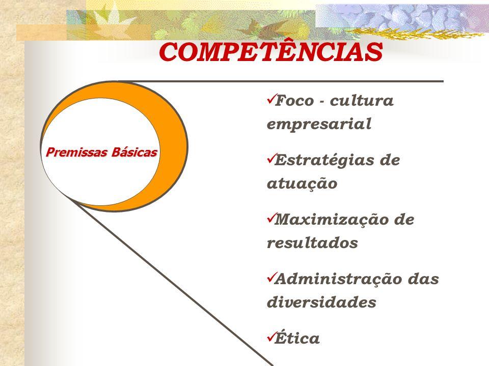 COMPETÊNCIAS Foco - cultura empresarial Estratégias de atuação