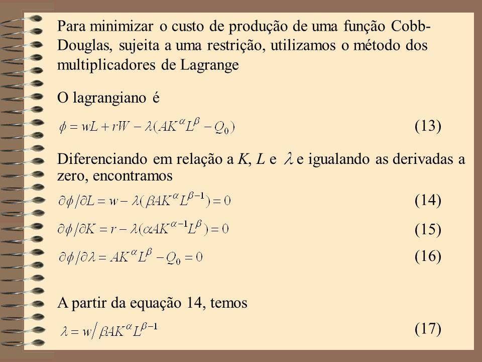Para minimizar o custo de produção de uma função Cobb-Douglas, sujeita a uma restrição, utilizamos o método dos multiplicadores de Lagrange