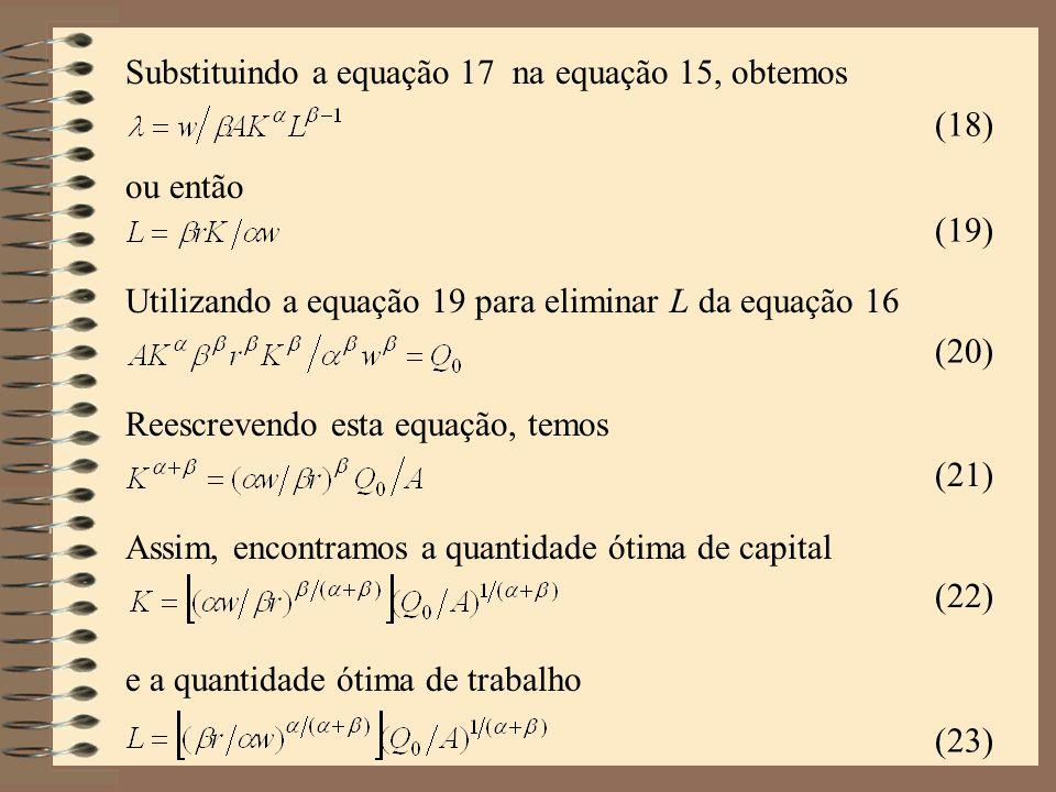 Substituindo a equação 17 na equação 15, obtemos
