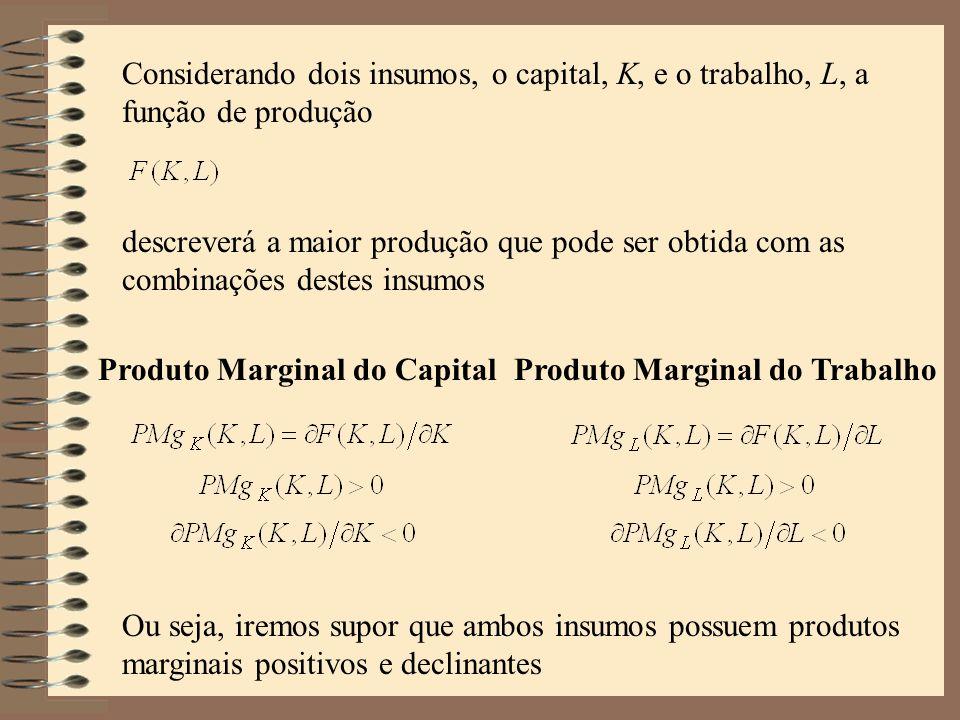 Considerando dois insumos, o capital, K, e o trabalho, L, a função de produção