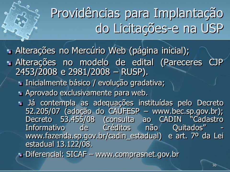 Providências para Implantação do Licitações-e na USP