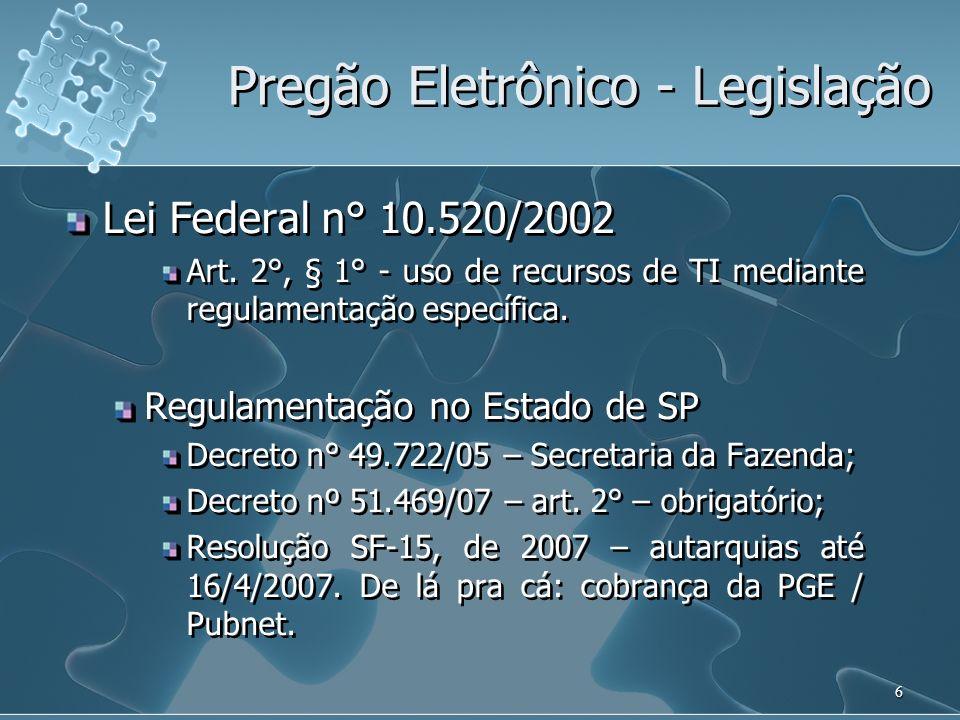 Pregão Eletrônico - Legislação