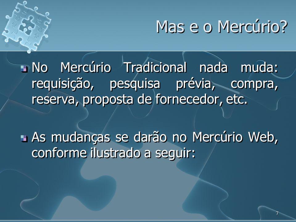 Mas e o Mercúrio No Mercúrio Tradicional nada muda: requisição, pesquisa prévia, compra, reserva, proposta de fornecedor, etc.
