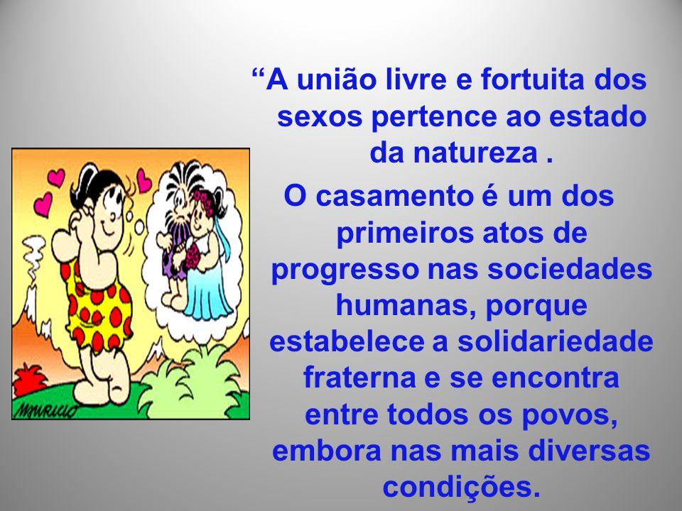 A união livre e fortuita dos sexos pertence ao estado da natureza .