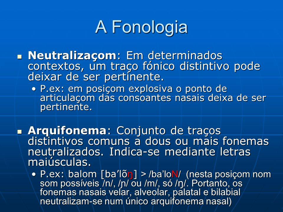 A Fonologia Neutralizaçom: Em determinados contextos, um traço fónico distintivo pode deixar de ser pertinente.