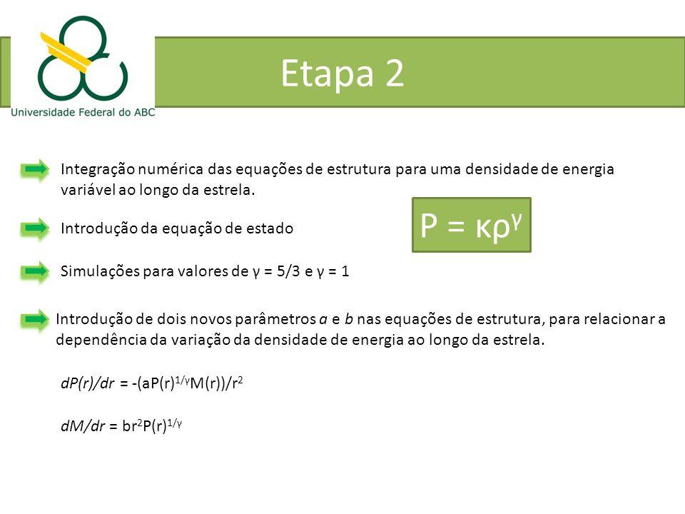 Etapa 2 Integração numérica das equações de estrutura para uma densidade de energia. variável ao longo da estrela.