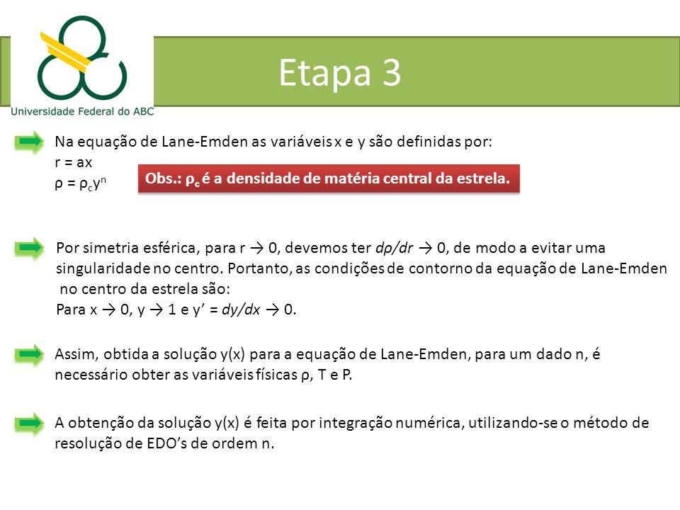 Etapa 3 Na equação de Lane-Emden as variáveis x e y são definidas por: