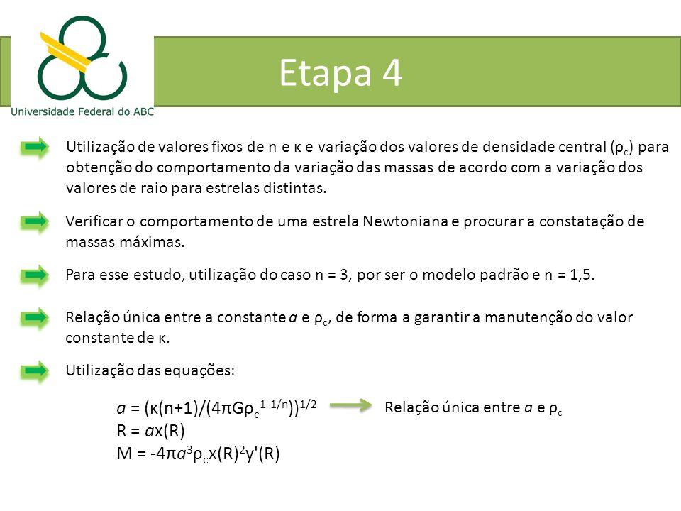 Etapa 4 a = (κ(n+1)/(4πGρc1-1/n))1/2 R = ax(R) M = -4πa3ρcx(R)2y (R)