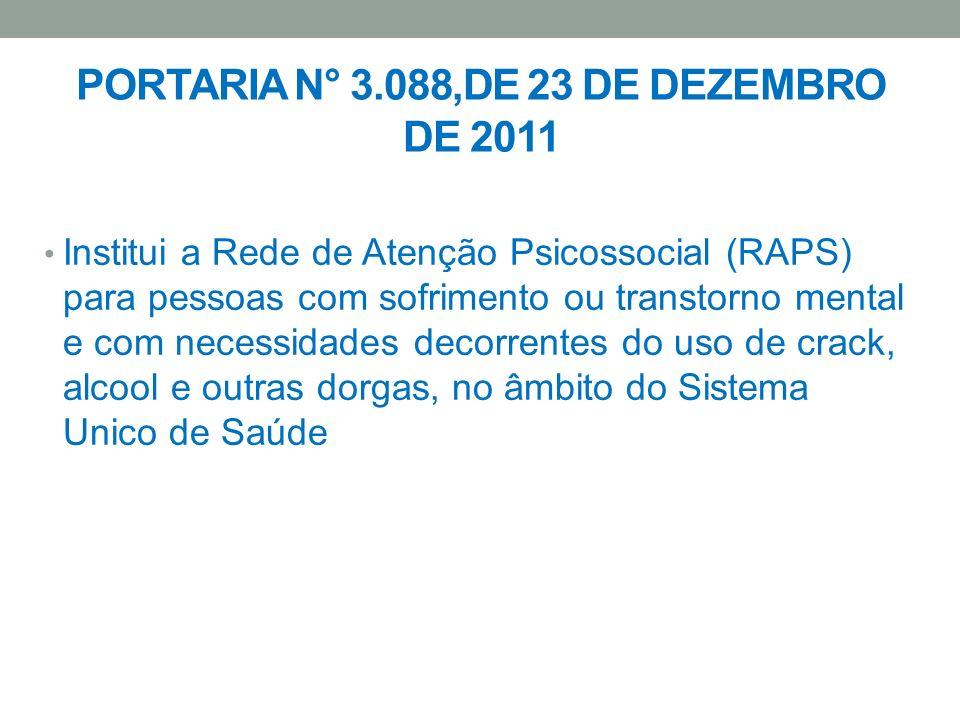 PORTARIA N° 3.088,DE 23 DE DEZEMBRO DE 2011