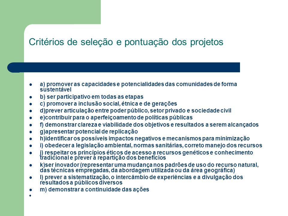 Critérios de seleção e pontuação dos projetos