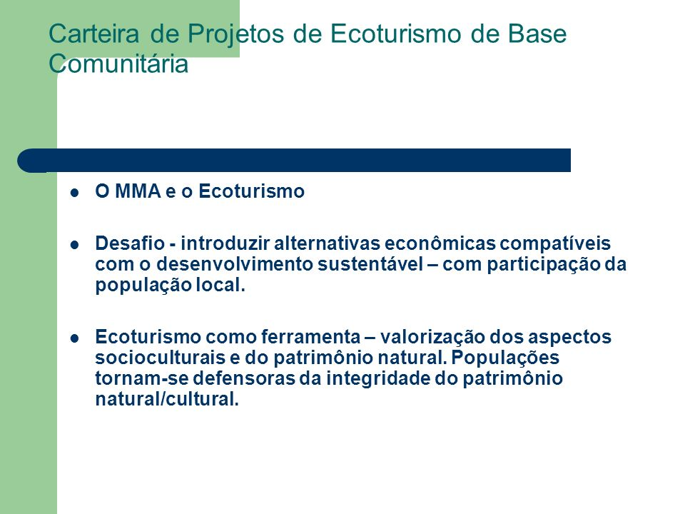 Carteira de Projetos de Ecoturismo de Base Comunitária