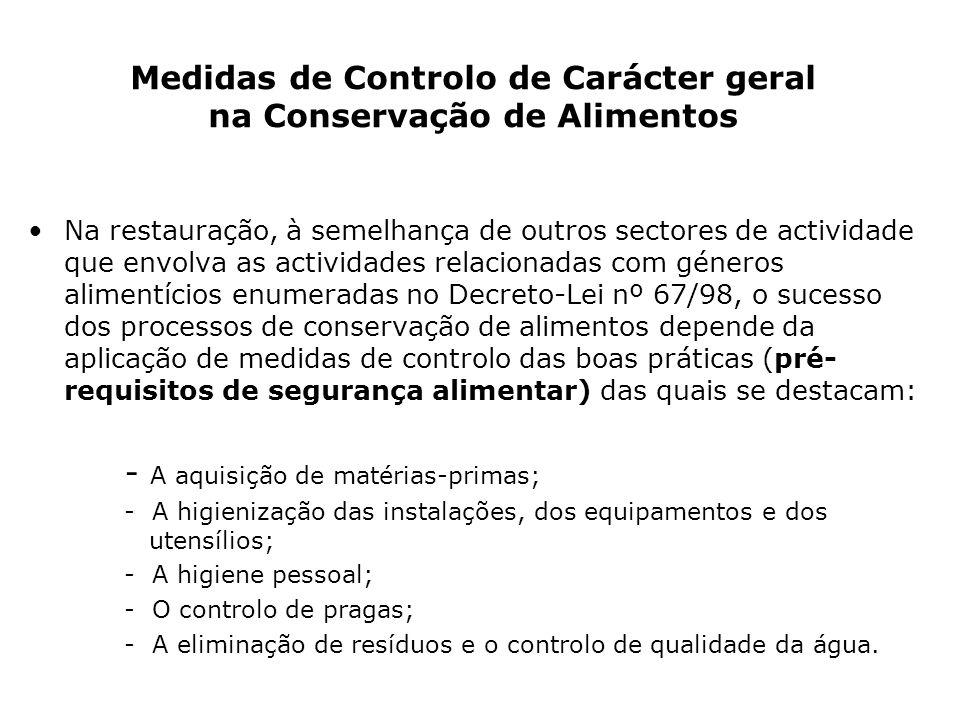 Medidas de Controlo de Carácter geral na Conservação de Alimentos