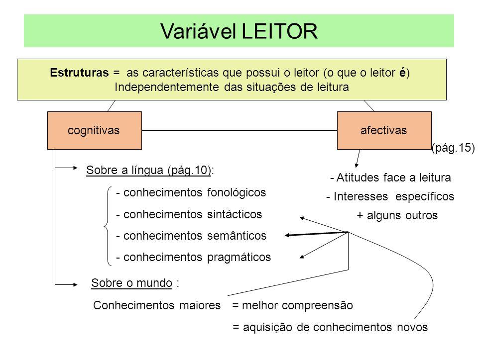 Variável LEITOR Estruturas = as características que possui o leitor (o que o leitor é) Independentemente das situações de leitura.