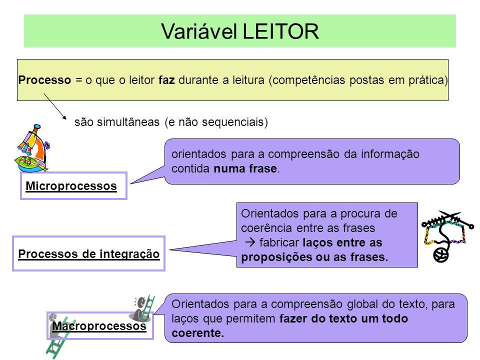 Variável LEITOR Processo = o que o leitor faz durante a leitura (competências postas em prática) são simultâneas (e não sequenciais)