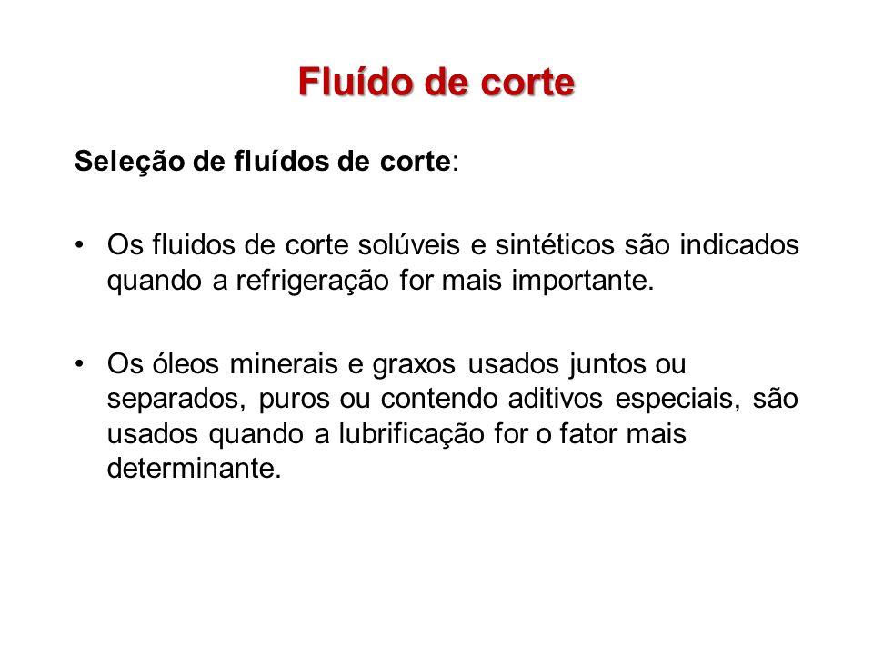 Fluído de corte Seleção de fluídos de corte: