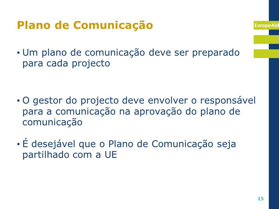 Plano de Comunicação Um plano de comunicação deve ser preparado para cada projecto.