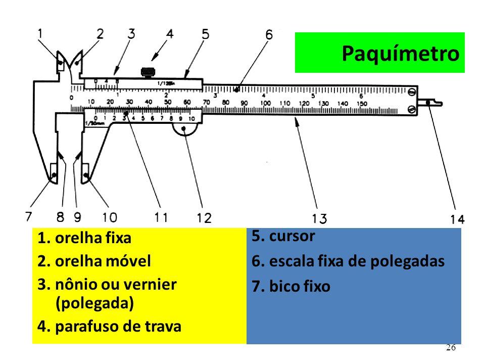 Paquímetro 5. cursor 1. orelha fixa 6. escala fixa de polegadas