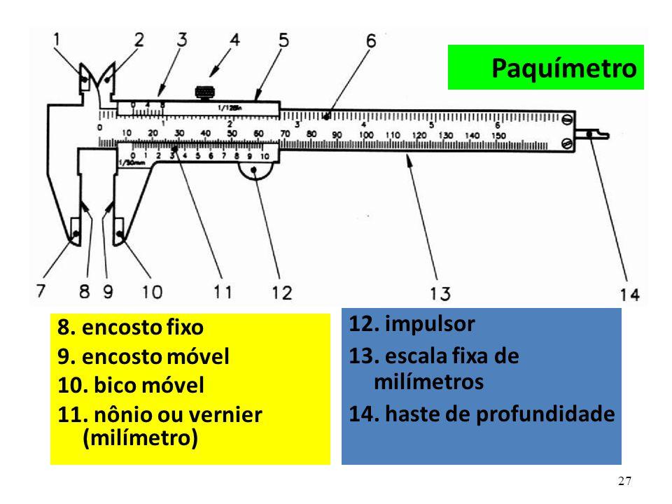 Paquímetro 12. impulsor 8. encosto fixo 13. escala fixa de milímetros