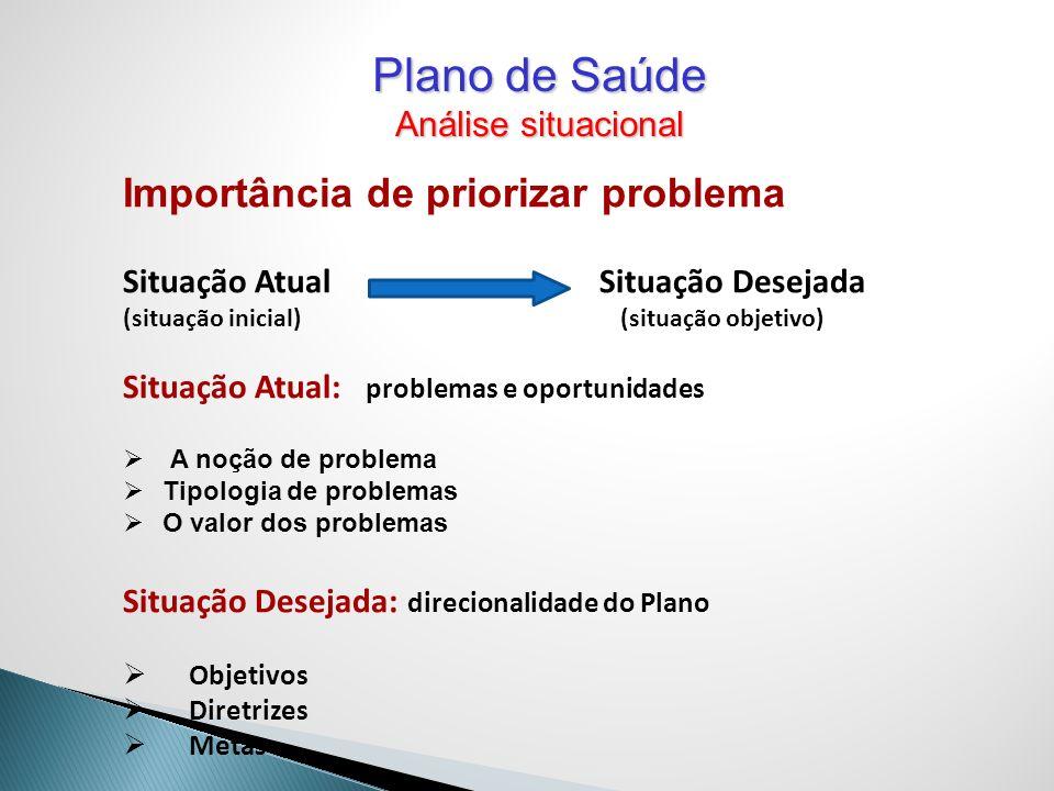 Plano de Saúde Importância de priorizar problema Análise situacional