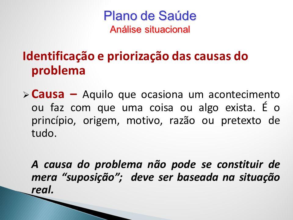 Identificação e priorização das causas do problema