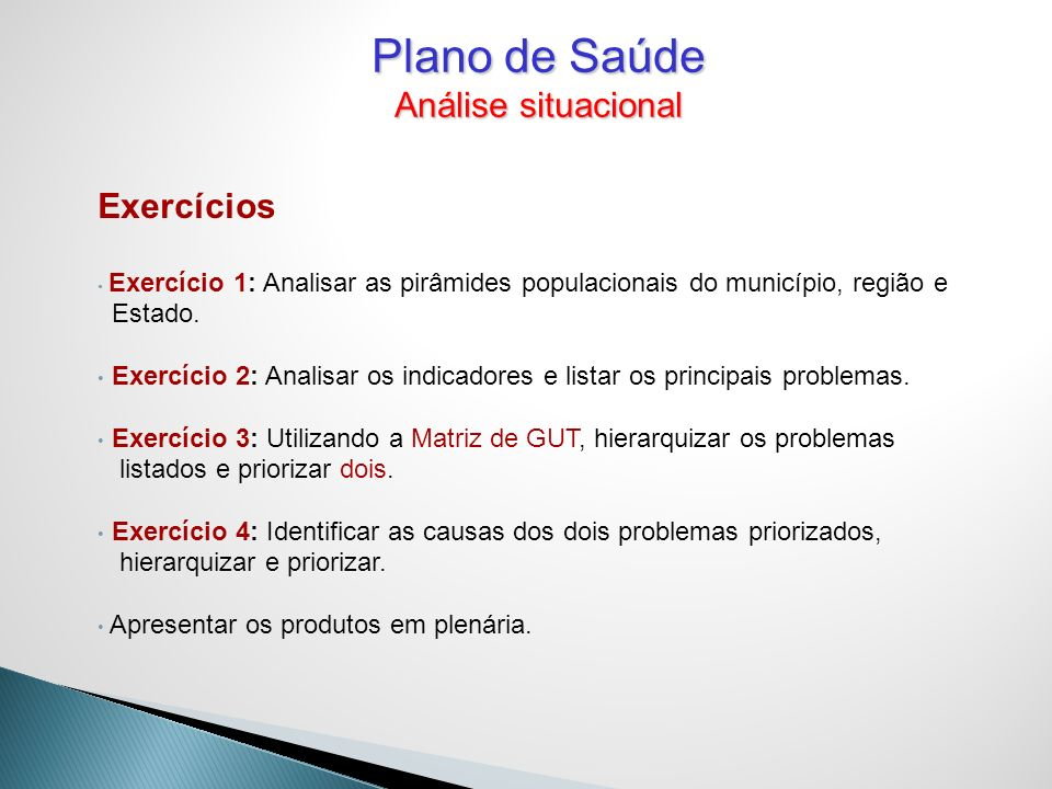 Plano de Saúde Análise situacional Exercícios Estado.