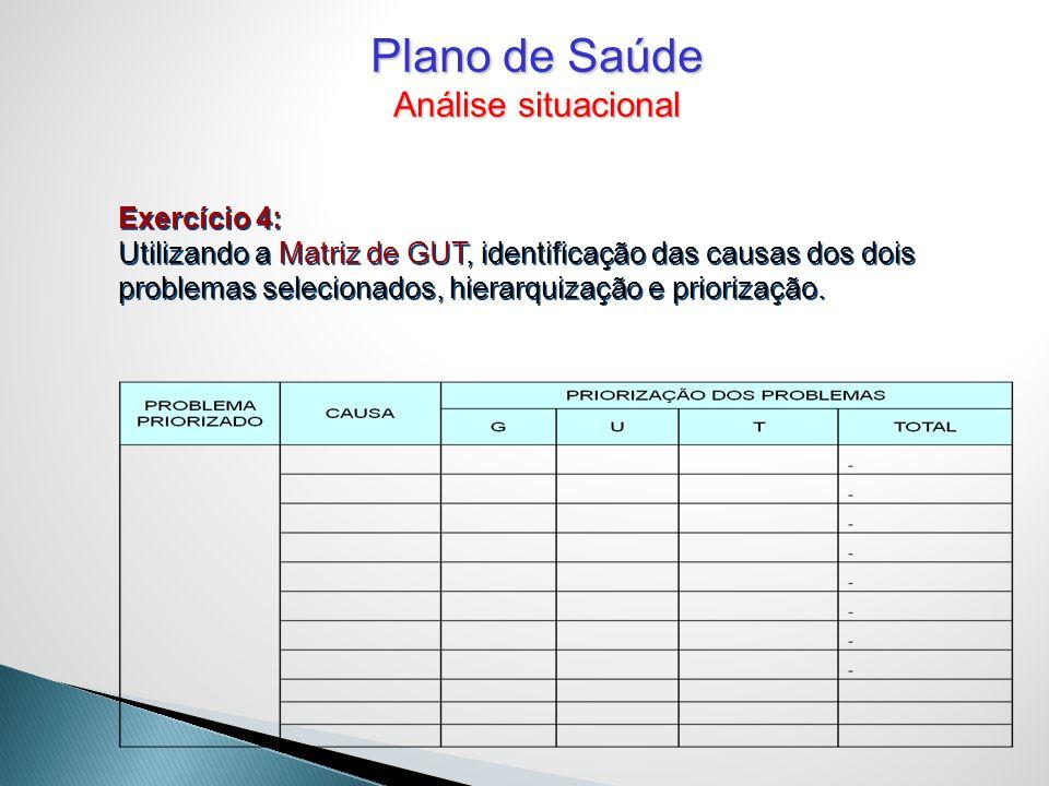 Plano de Saúde Análise situacional Exercício 4: