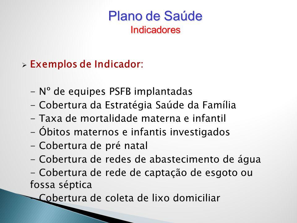 Plano de Saúde Indicadores Exemplos de Indicador: