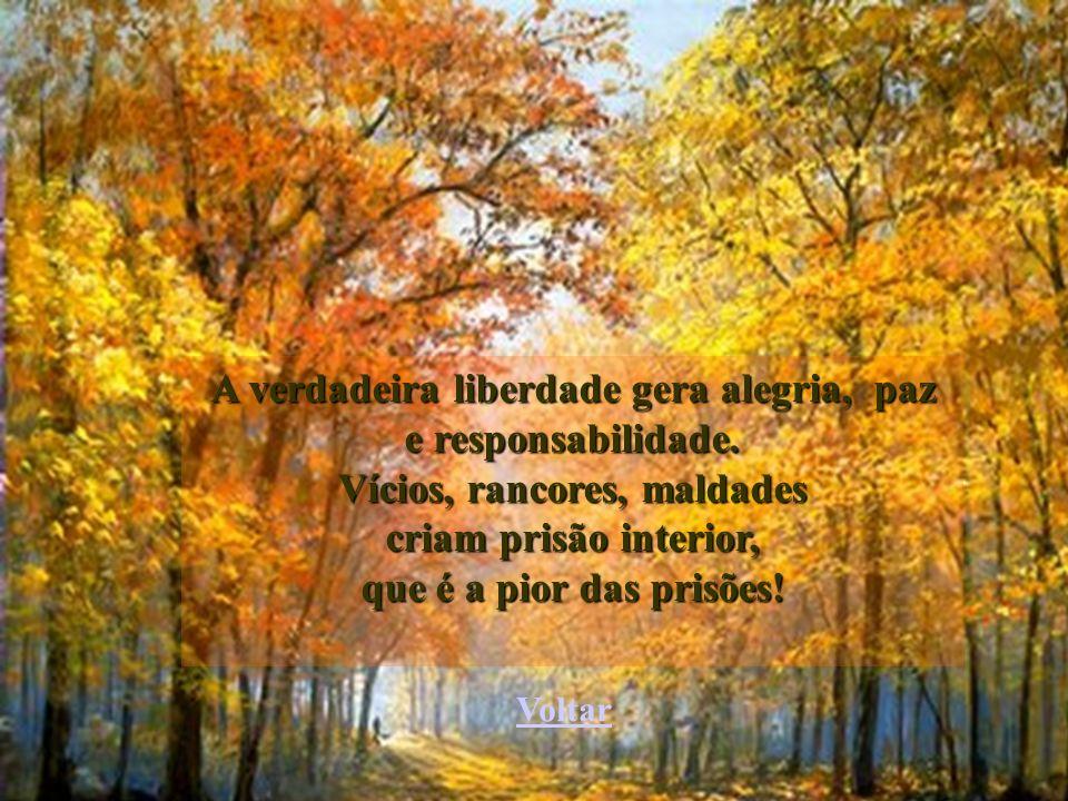 A verdadeira liberdade gera alegria, paz Vícios, rancores, maldades