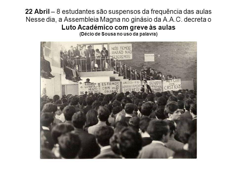 22 Abril – 8 estudantes são suspensos da frequência das aulas Nesse dia, a Assembleia Magna no ginásio da A.A.C.