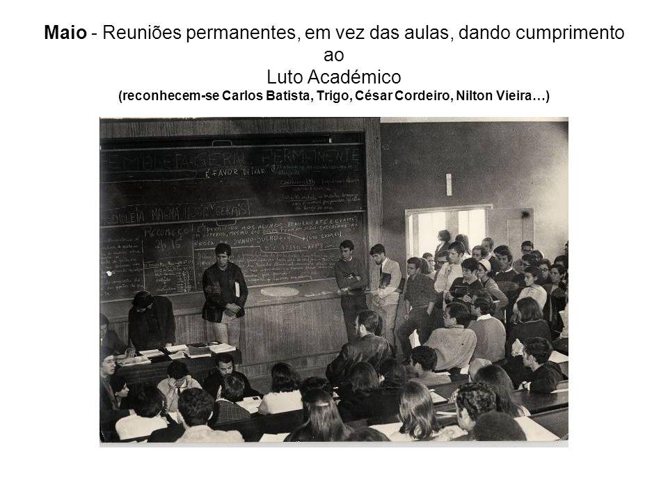 Maio - Reuniões permanentes, em vez das aulas, dando cumprimento ao Luto Académico (reconhecem-se Carlos Batista, Trigo, César Cordeiro, Nilton Vieira…)