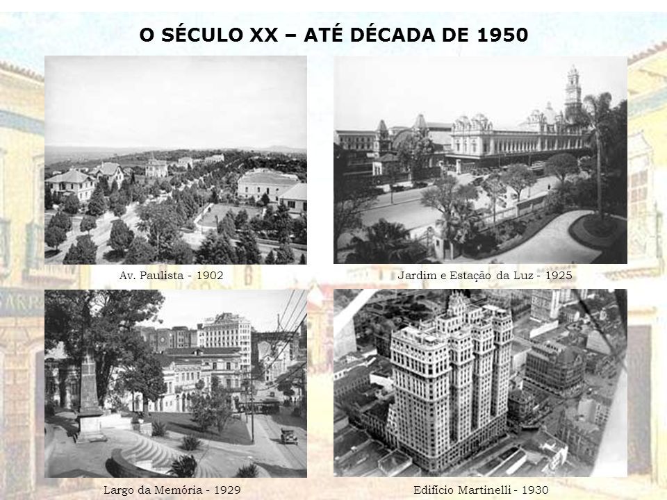 O SÉCULO XX – ATÉ DÉCADA DE 1950