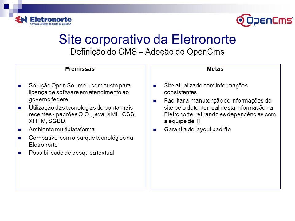 Site corporativo da Eletronorte Definição do CMS – Adoção do OpenCms