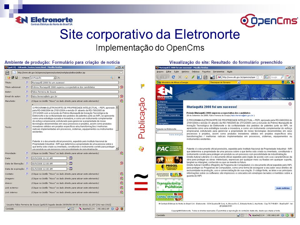 Site corporativo da Eletronorte Implementação do OpenCms