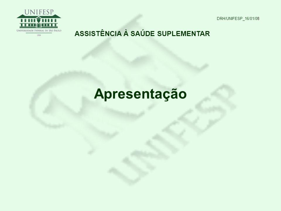 DRH/UNIFESP_16/01/08 ASSISTÊNCIA À SAÚDE SUPLEMENTAR Apresentação