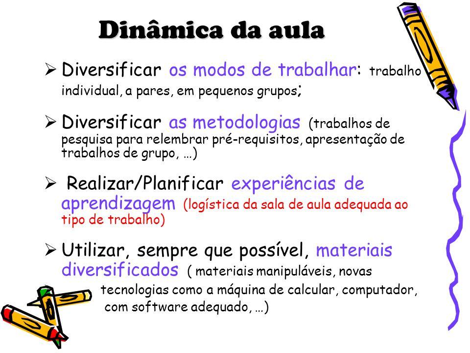 Dinâmica da aula Diversificar os modos de trabalhar: trabalho individual, a pares, em pequenos grupos;
