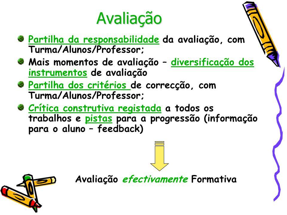 Avaliação Partilha da responsabilidade da avaliação, com Turma/Alunos/Professor;