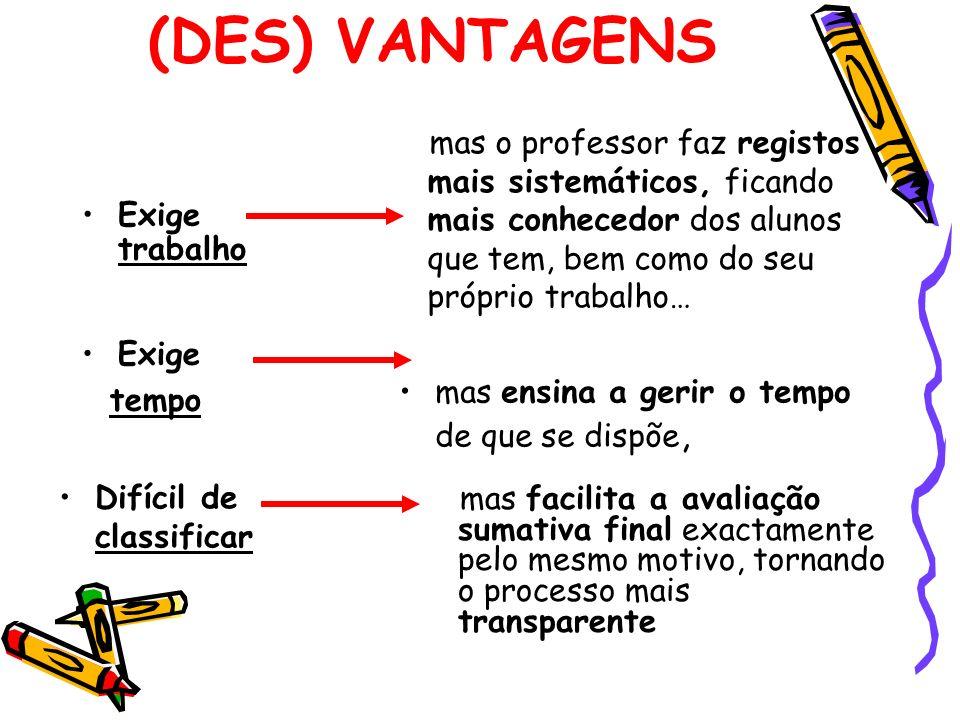 (DES) VANTAGENS mas o professor faz registos mais sistemáticos, ficando mais conhecedor dos alunos que tem, bem como do seu próprio trabalho…