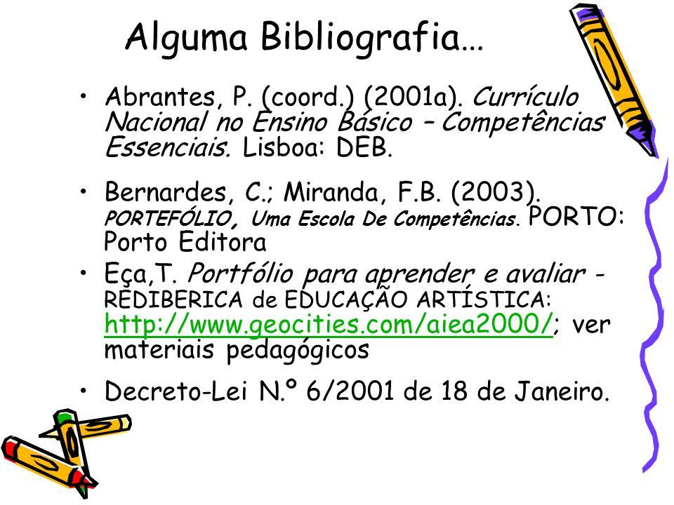 Alguma Bibliografia… Abrantes, P. (coord.) (2001a). Currículo Nacional no Ensino Básico – Competências Essenciais. Lisboa: DEB.