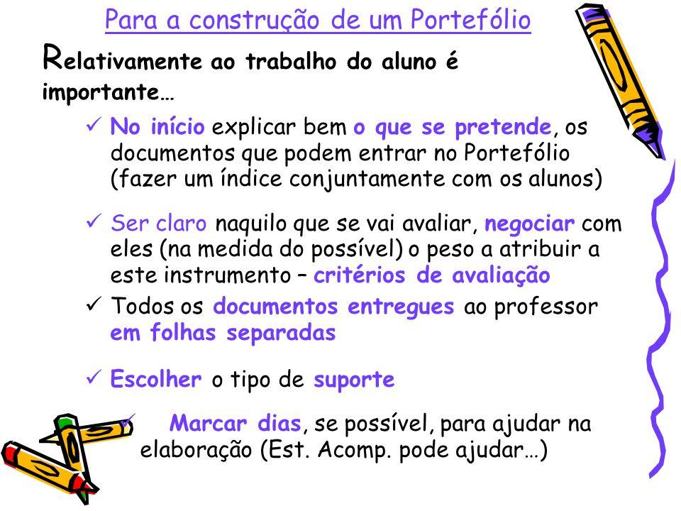 Para a construção de um Portefólio Relativamente ao trabalho do aluno é importante…