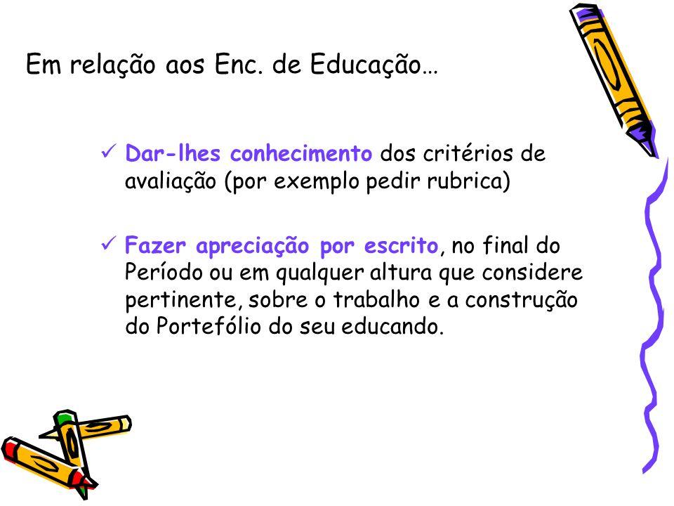 Em relação aos Enc. de Educação…