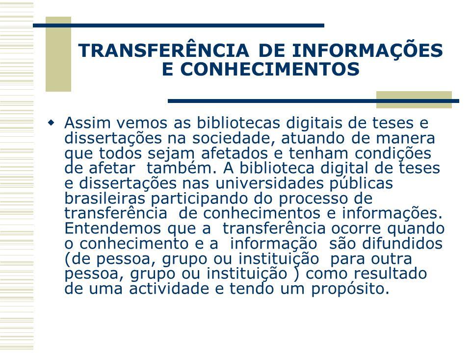 TRANSFERÊNCIA DE INFORMAÇÕES E CONHECIMENTOS