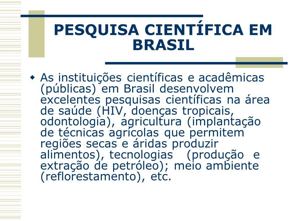 PESQUISA CIENTÍFICA EM BRASIL