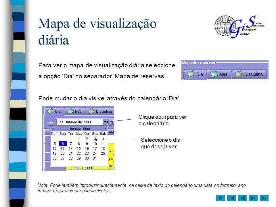 Mapa de visualização diária