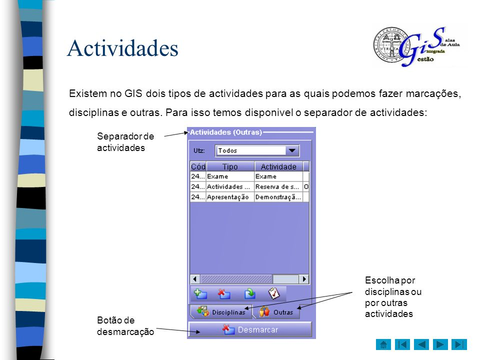 Actividades Existem no GIS dois tipos de actividades para as quais podemos fazer marcações,