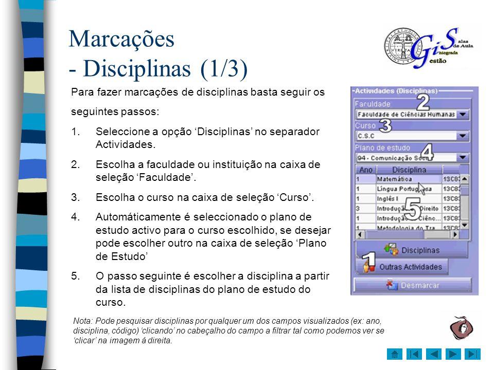 Marcações - Disciplinas (1/3)