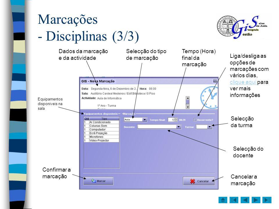 Marcações - Disciplinas (3/3)