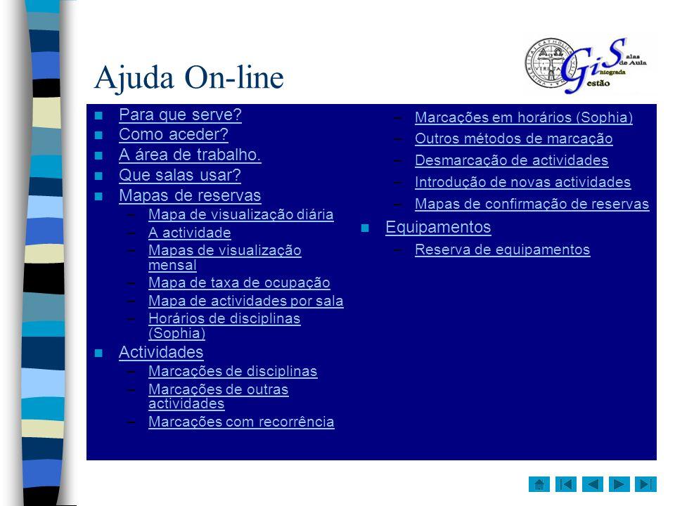 Ajuda On-line Para que serve Como aceder A área de trabalho.