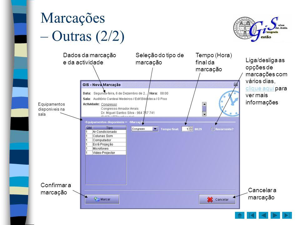 Marcações – Outras (2/2) Dados da marcação e da actividade