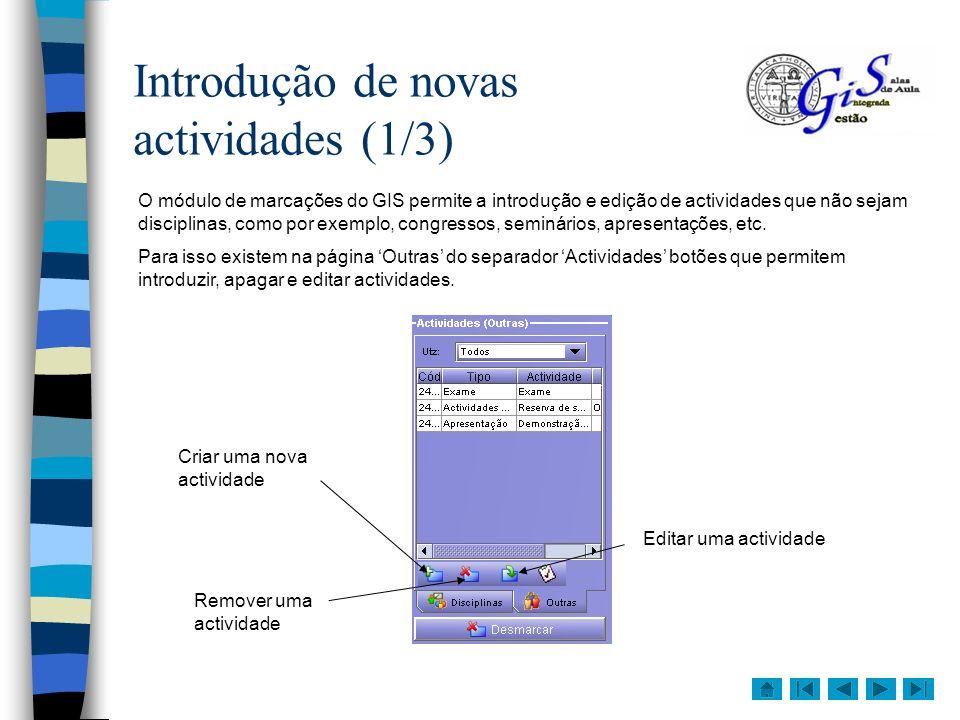 Introdução de novas actividades (1/3)